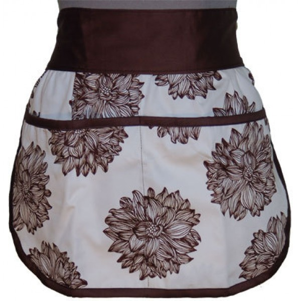 Girls' Organic Cotton Half Apron - Evelyn/Chocolate Brown
