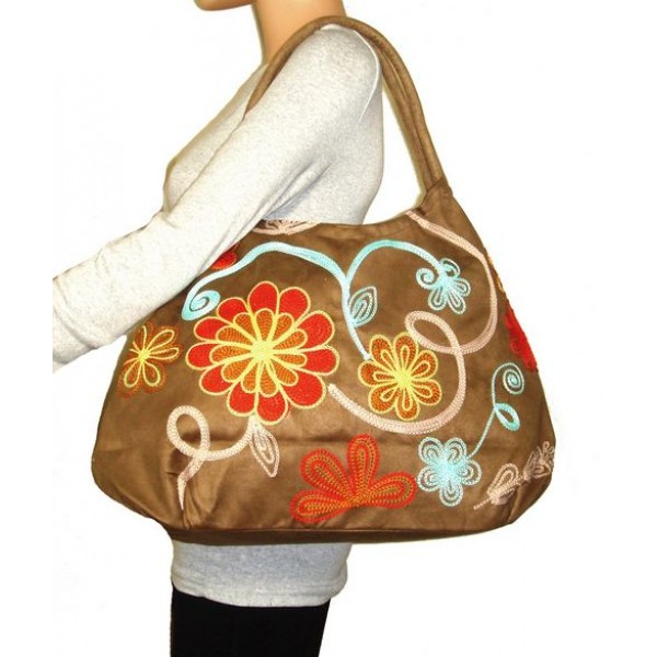 Hobo Embroidered Bag Tan With Blue Swirls