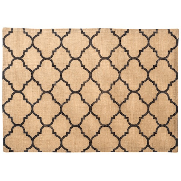 Black Moorish Tile Printed Burlap Placemats