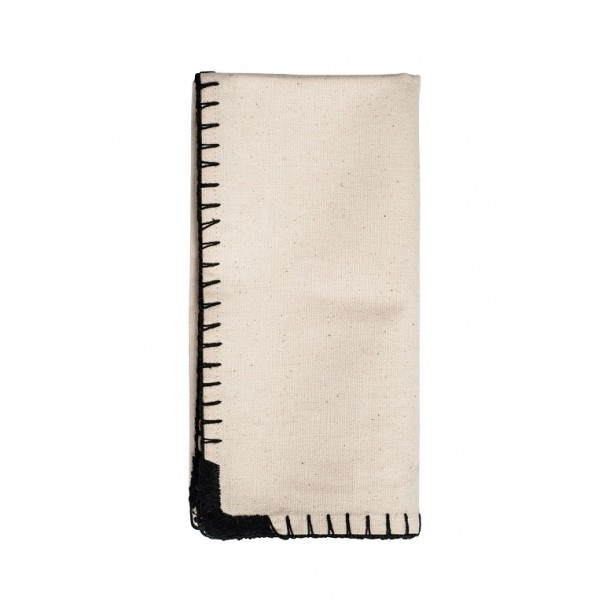 Black Whipstitch Cotton Dinner Napkins Set Of 6