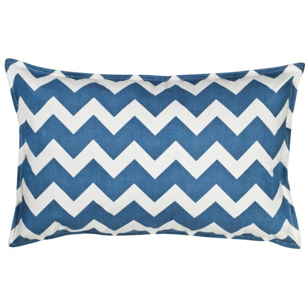 Blue Chevron Rectangle Cotton Canvas Pillow