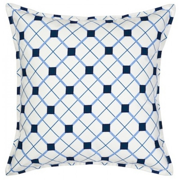 Blue Geo Square Cotton Canvas Pillow
