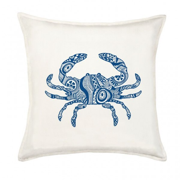 Blue Henna Crab Square Cotton Canvas Pillow