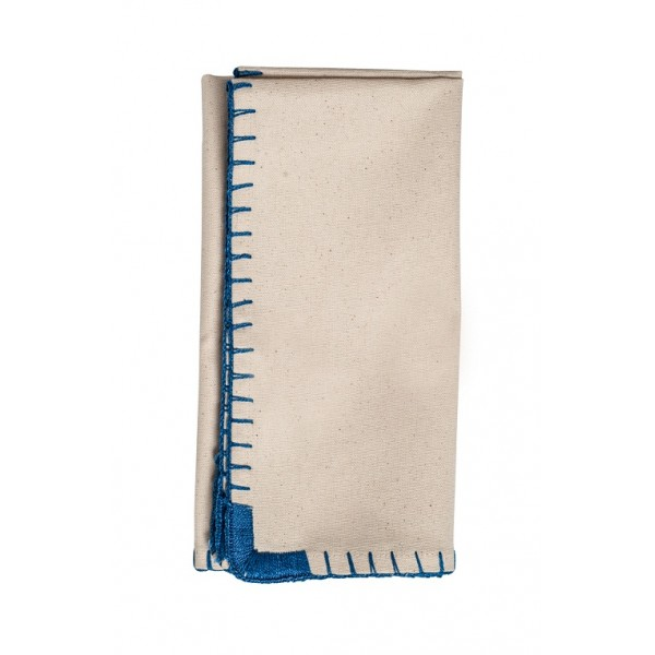 Blue Whipstitch Cotton Dinner Napkins Set Of 6