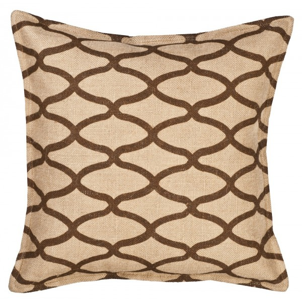 Brown Geo Oval Print On Washed Burlap Pillow