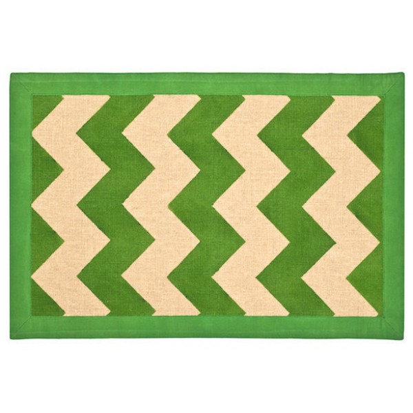 Green Chevron Jute Area Rug