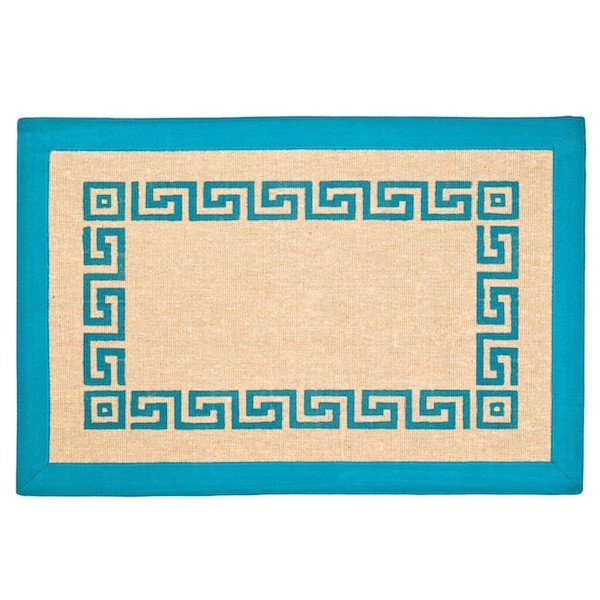 Turquoise Greek Key Jute Area Rug